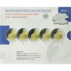Duitsland Proof-Set 2009 5x 2 euro 'Saarland', letters A,D,F,G en J