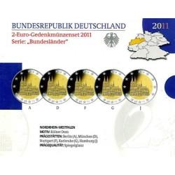 Duitsland Proof-Set 2011 5x 2 euro 'Nordrhein-Westfalen', letters A,D,F,G en J