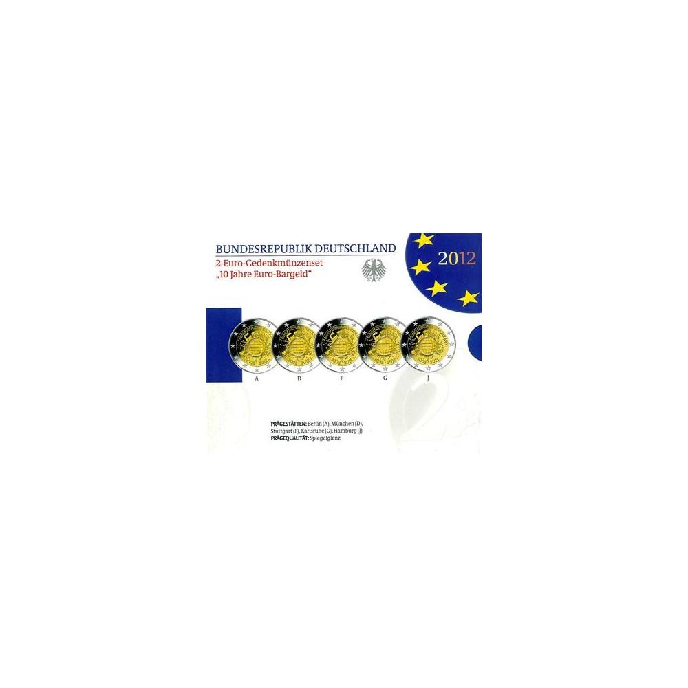Duitsland Proof-Set 2012 5x 2 euro '10 jaar euro', letters A,D,F,G en J
