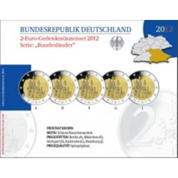 Duitsland Proof-Set 2012 5x 2 euro 'Bayern', letters A,D,F,G en J
