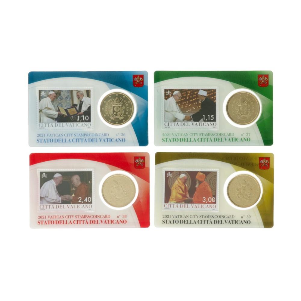 Vaticaan set van 4 coincards 2021 'Postzegel en munt' nr. 36 t/m 39