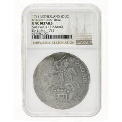 Zilveren rijder Utrecht 1711 uit scheepswrak 'de Liefde' incl. origineel scheepswrak certificaat van NGC