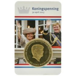 Nederland penning in coincard 2013 'Koningspenning 30 april 2013' verguld