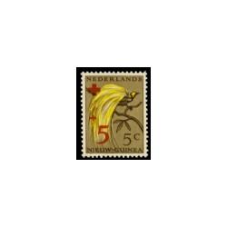 1955 Nieuw Guinea Rode-Kruiszegels. Frankeerzegels 1954 (Paradijsvogels), overdrukt met toeslag in rood.