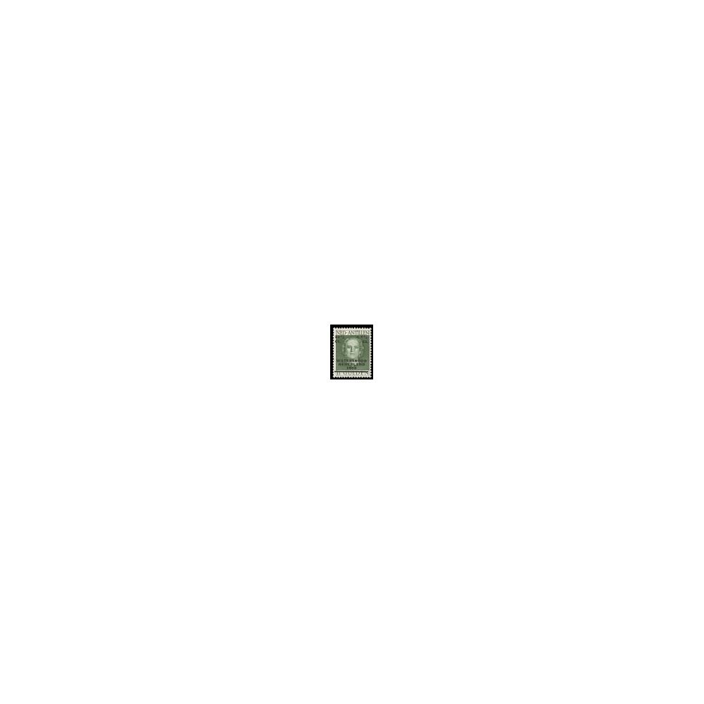 1953 Ned. Antillen Watersnoodzegel. Frankeerzegel van de uitgifte 1950, overdrukt in zwart.