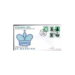 2012 Sint Maarten FDC op 4 enveloppen Botwinnik-Euwe Den Haag/Moskou 1948