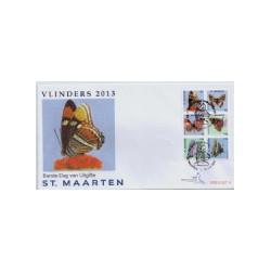 2013 Sint Maarten FDC op 2 enveloppen Vlinders