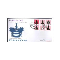 2013 Sint Maarten FDC op 3 enveloppen   Schaken