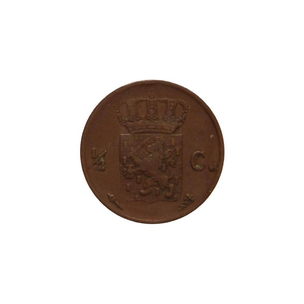 Koninkrijksmunten Nederland ½ cent 1821 U