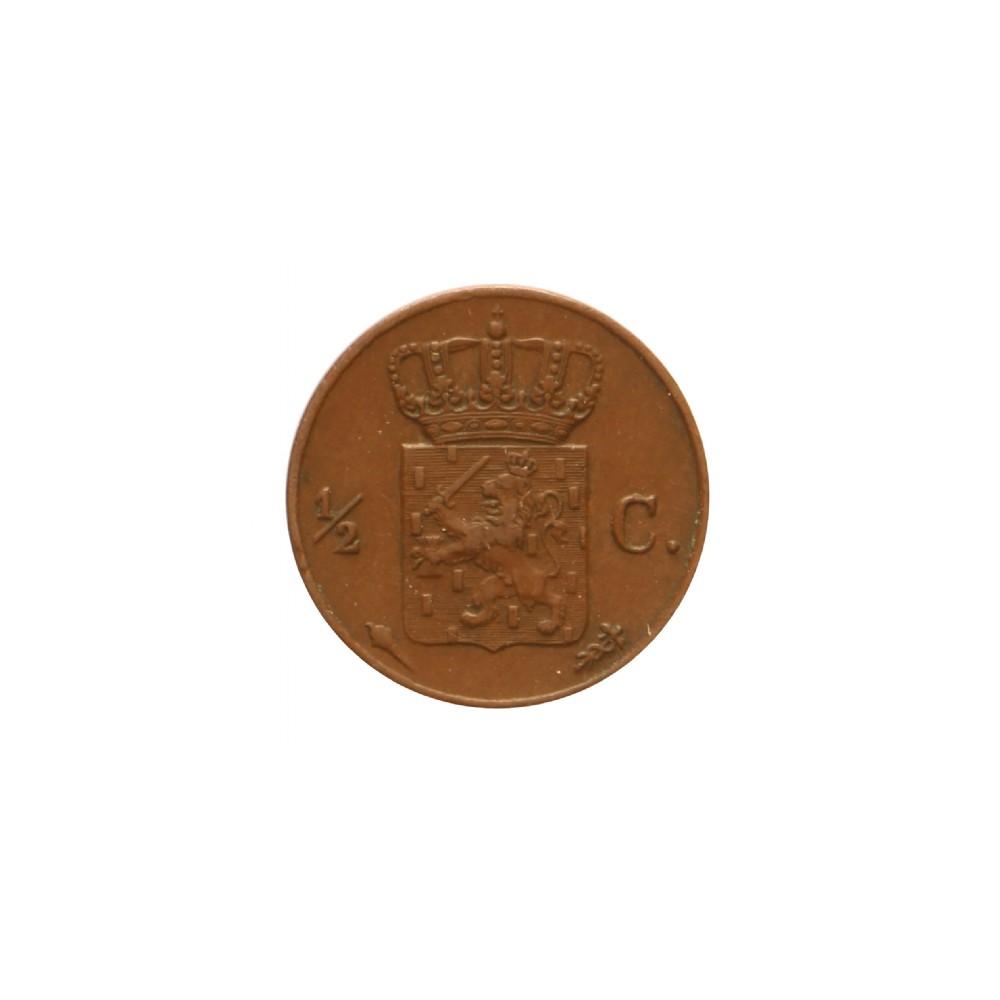Koninkrijksmunten Nederland ½ cent 1828 U