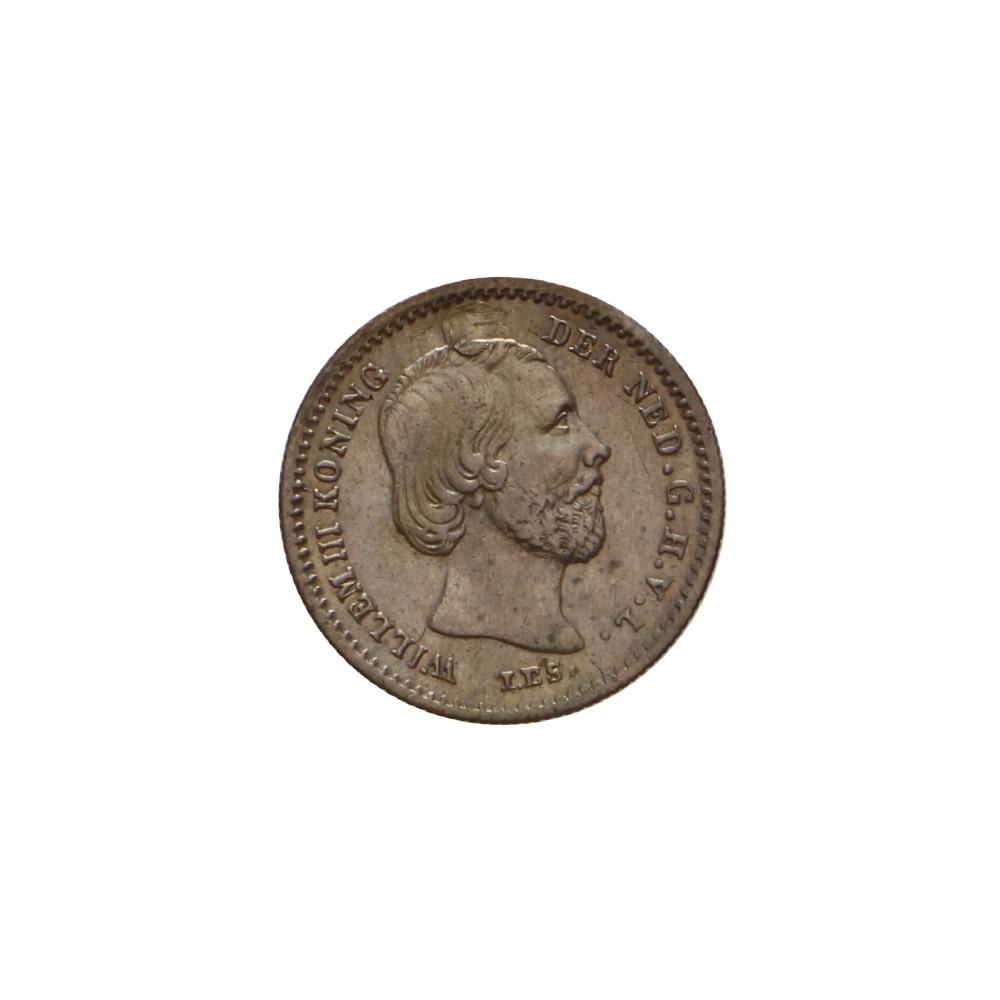 Koninkrijksmunten Nederland 5 cent 1853 FR/ZF  € 150,- heeft gaatje
