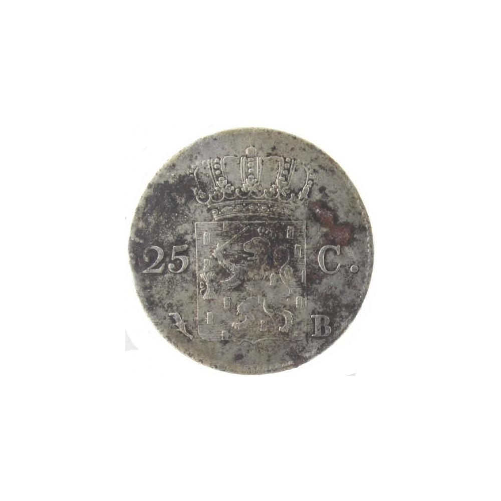 Koninkrijksmunten Nederland 25 cent 1828 B