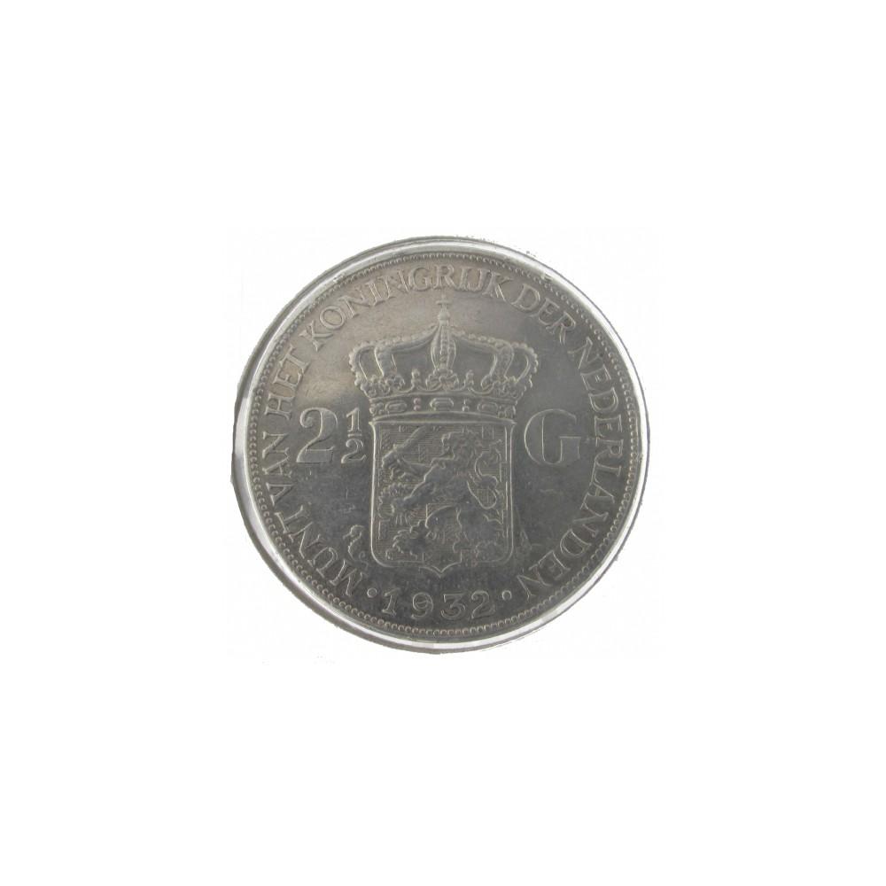 Koninkrijksmunten Nederland 2½ gulden 1932 grofhaar