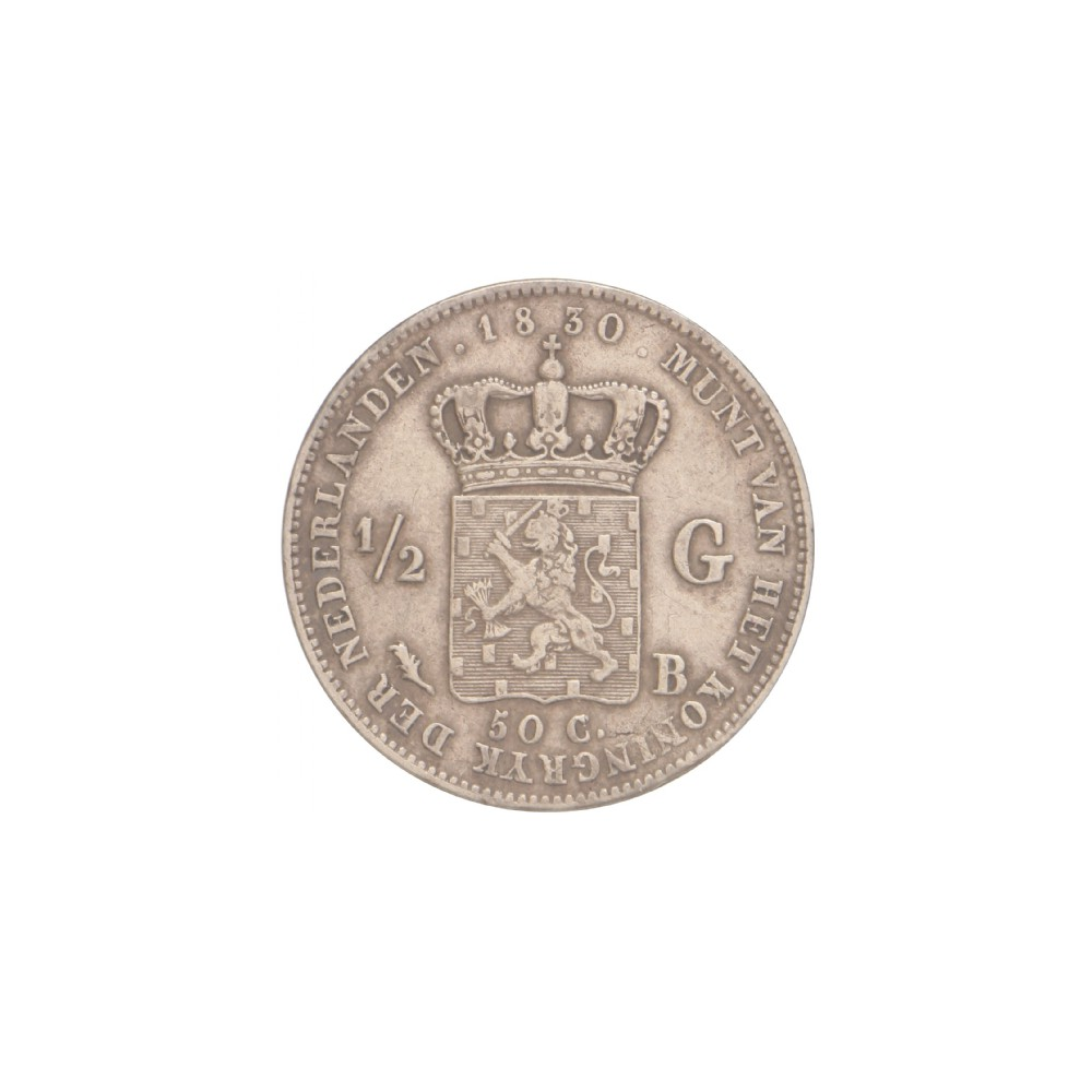 Koninkrijksmunten Nederland ½ gulden 1830 B