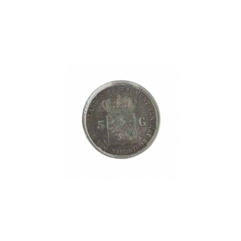 Koninkrijksmunten Nederland 3 gulden 1821 U zonder naam michaut