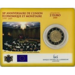 Luxemburg 2 euro in blister 2009 'Tiende verjaardag van de Economische en Monetaire Unie'