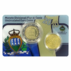 San Marino 2 euromunt en 10 cent 2010 in coincard