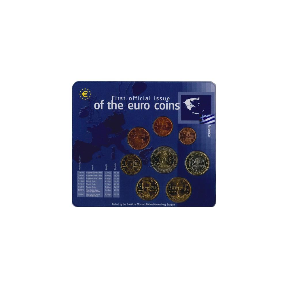 Griekenland 2002 - Eerste officiële uitgifte van de euromunten