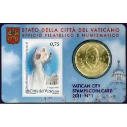 Vaticaan 50 cent 2011 (met postzegel) in coincard nr. 1 (Benedictus & Giovanni Paolo)