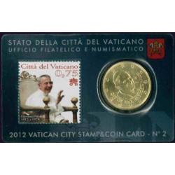 Vaticaan 50 cent 2012 (met postzegel) in coincard nr. 2
