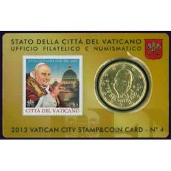 Vaticaan 50 cent 2013 (met postzegel) in coincard nr. 4 (Benedictus & Giovanni)