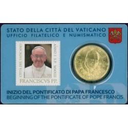 Vaticaan 50 cent 2013 (met postzegel) in coincard (Benedictus & Franciscus)