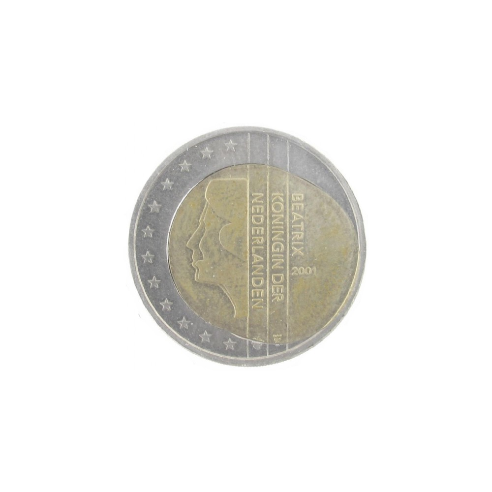 Misslag: 2 euro 2001 Nederland, ovale messing kern 'spiegelei'
