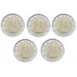 Duitsland 2 euro 2012 'Bayern'; 5 letters (A, D, F, G & J)