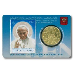 Vaticaan 50 cent 2014 (met postzegel) in coincard nr. 5