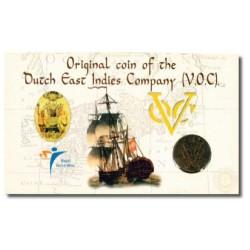 Originele VOC-Duit in KNM-blister, willekeurig jaartal