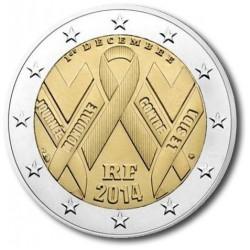 Frankrijk 2 euro 2014 'Wereld Aids dag'