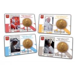 Vaticaan set van 4 coincards 2015 'Postzegel en munt' nr. 6 t/m 9