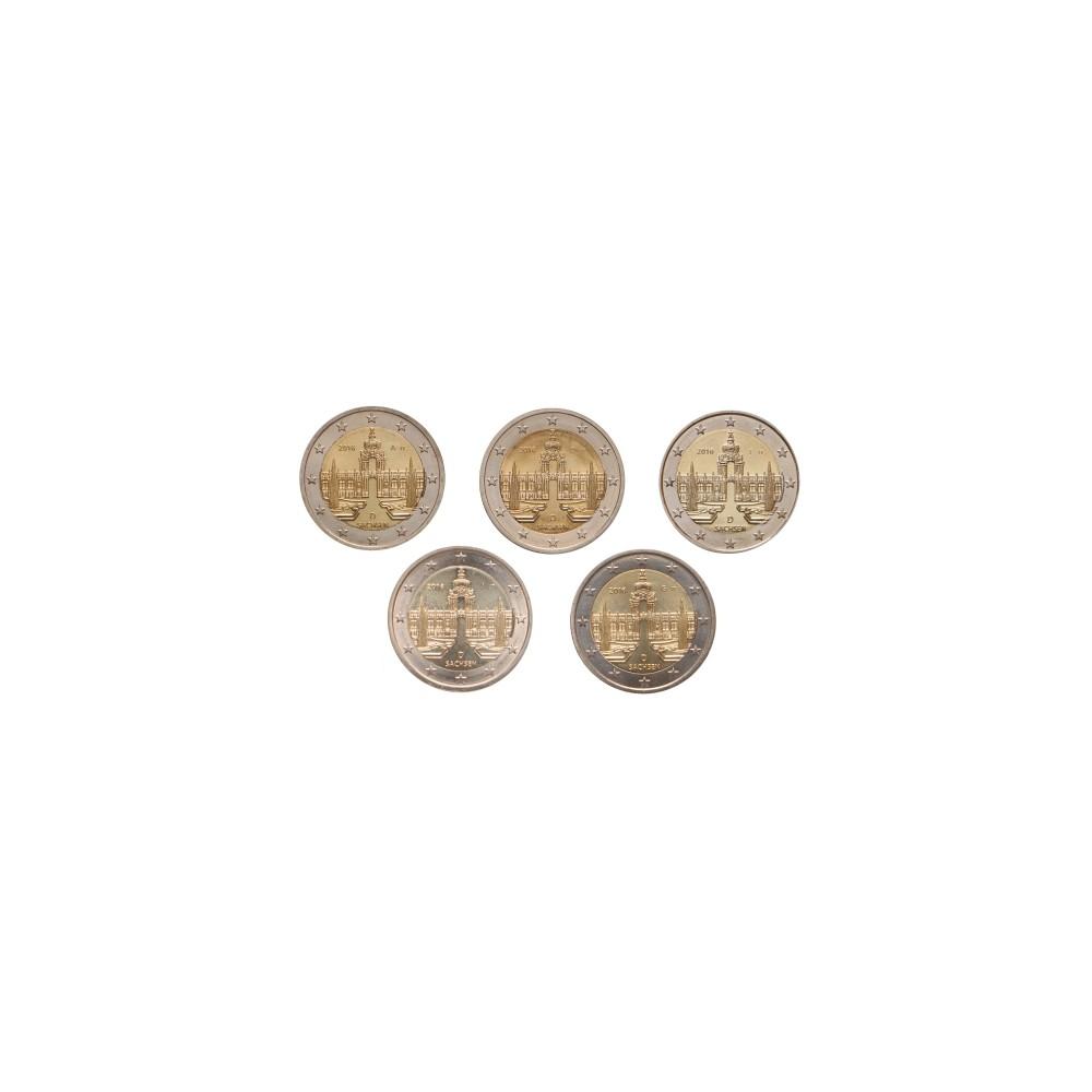 Duitsland 2 euro 2016 'Sachsen' - 5 letters (A,D,F,G & J)