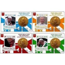 Vaticaan set van 4 coincards 2016 'Postzegel en munt' nr. 10 t/m 13