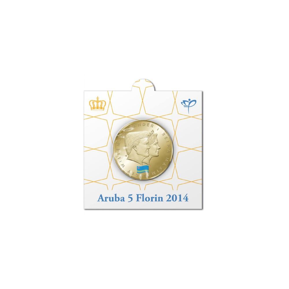 Officiële munthouder 5 florin 2014 Aruba '1 jaar koningschap'