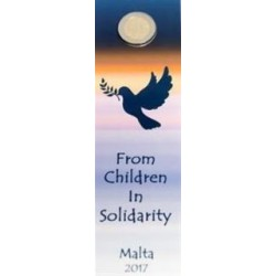 Malta 2 euro 2017 'Vrede' - Coincard met Frans muntteken
