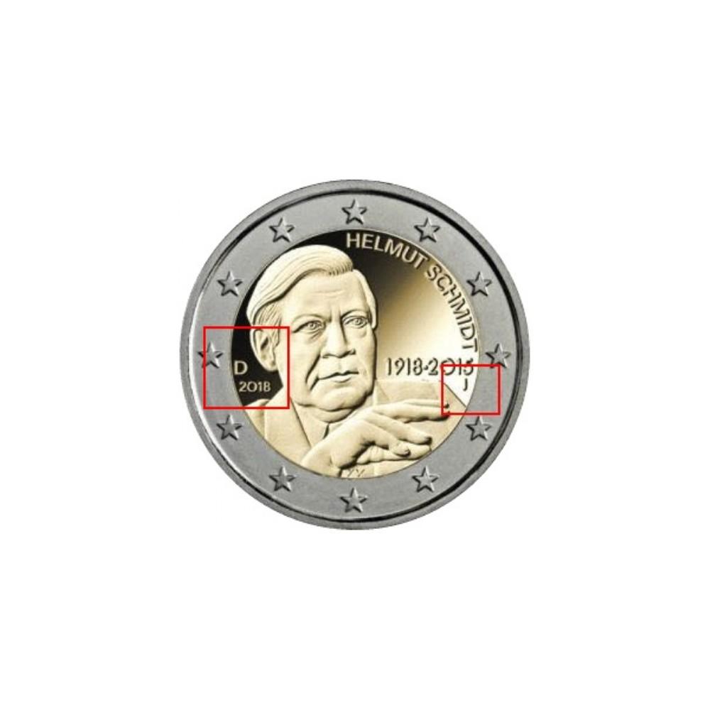 Duitsland 2 euro's 2018 'Helmut Schmidt' en 'Berlin' - willekeurige letter