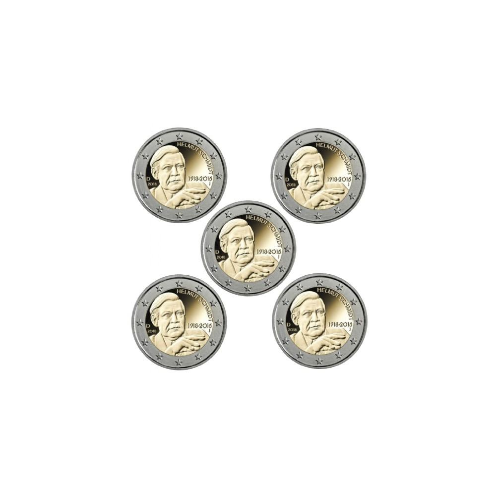 Duitsland 2 euro's 2018 'Helmut Schmidt' - 5 letters (A,D,F,G & J) en 'Berlin' - 5 letters (A,D,F,G & J)