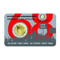 België 2 euro 2018 '50 jaar mei 1968' Coincard Engels/Nederlandse tekst