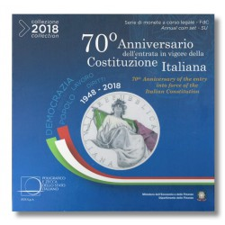 Italië BU-Set 2018 + speciale 2 euro 2018 '70 Jaar Grondwet' + 5 euro