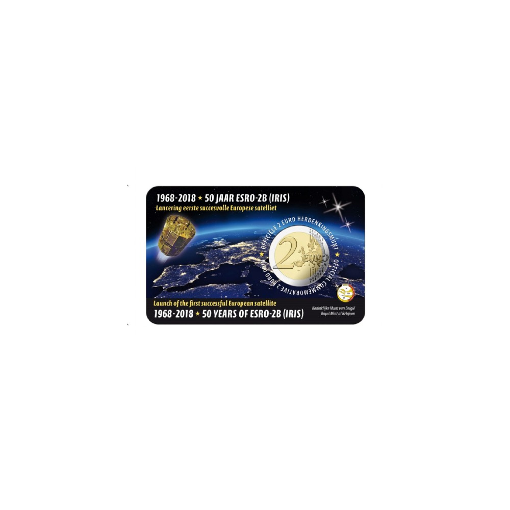 België 2 euro 2018 'ESRO-2B satelliet' Coincard Engels/Nederlandse tekst