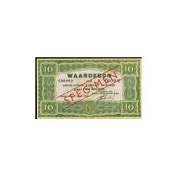 10 gulden groen specimen, Waardebon voor Nederlandsch Rijnvaart Personeel 1946