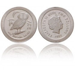 Niue 2 dollar 2017 - Athene Uil 1 OZ zilver