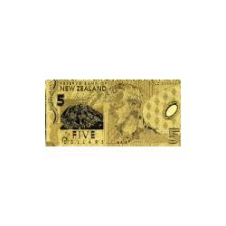 New Zealand 5 dollar biljet in Goud