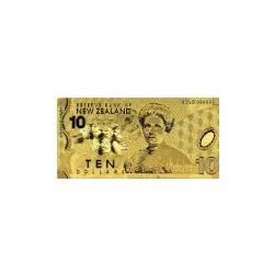 New Zealand 10 dollar biljet in Goud