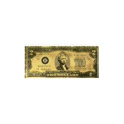USA 2 dollar biljet in Goud 'Thomas Jefferson'
