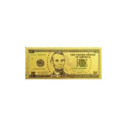 USA biljet 5 Dollar in goud met kleuropdruk 'Abraham Lincoln'