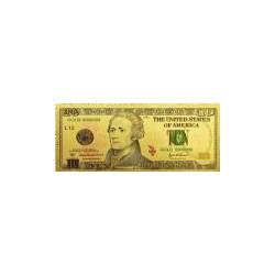 USA biljet 10 Dollar in goud met kleuropdruk 'Alexander Hamilton'