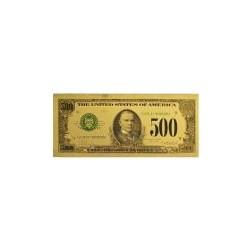 USA biljet 500 Dollar in goud met kleuropdruk