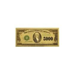 USA biljet 5000 Dollar in goud met kleuropdruk